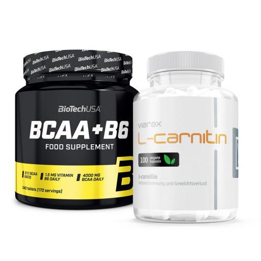 Viarax L-carnitin + Biotech USA BCAA + B6 340tbl.